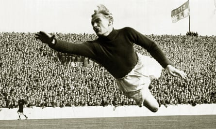 Bert Trautmann playing for Manchester City against Wolverhampton Wanderers in 1951.