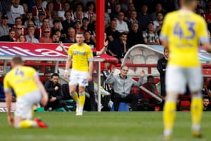 Manager Marcelo Bielsa reacts on the touchline.