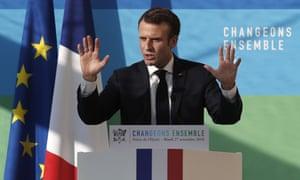 Emmanuel Macron delivers a speech in Paris