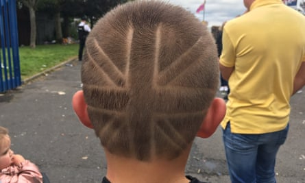 A boy with a union jack haircut in east Belfast.