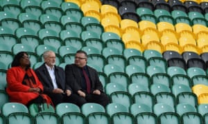 Jeremy Corbyn (centre) and shadow home secretary Diane Abbott with Labour candidate Gareth Eale on a visit to Northampton Saints rugby club in Northampton
