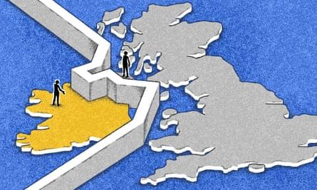 Wall between Ireland and Britain Illustration by Matt Kenyon