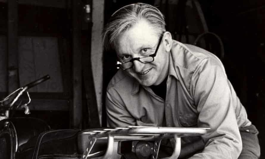 Robert M. Pirsig working on a motorcycle in 1975.