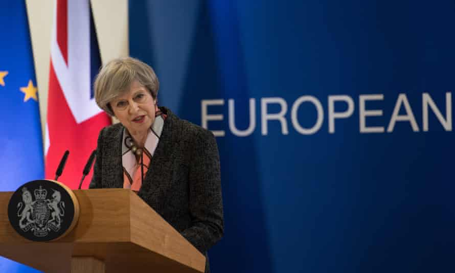 Theresa May speaking at the EU summit in Brussels.