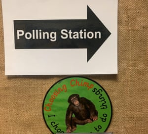 Adam, 42, runs a graphic design agency, sent in a photo of the 'choosing chimp' at Myatt Garden primary school