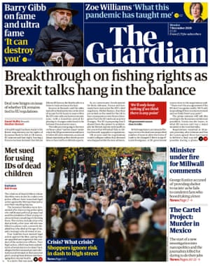Guardian front page, Monday 7 December 2020