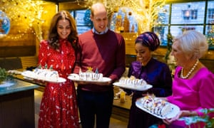 Nadiya Hussain with the Duke and Duchess of Cambridge and Mary Berry on the BBC's A Berry Royal Christmas in 2019