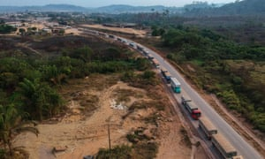 The BR163 highway in Moraes Almeida district in the Amazon rainforest, Brazil, September 2019.