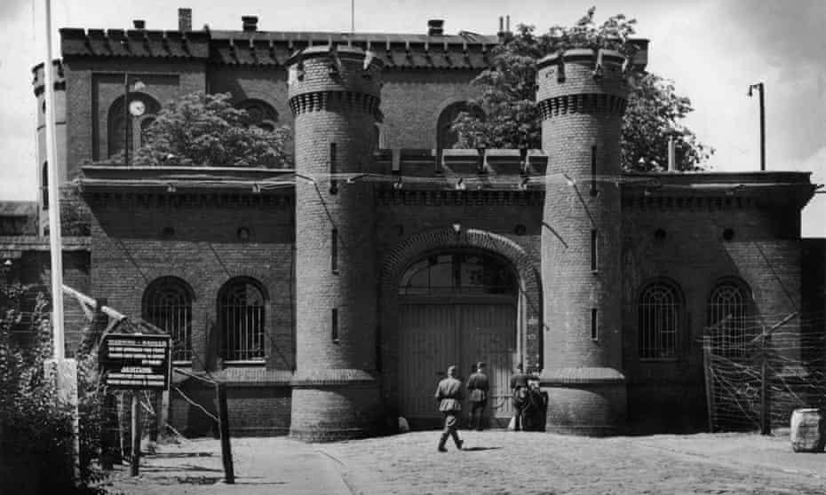 British soldiers patrol the perimeter of Spandau prison in western Berlin c1947.