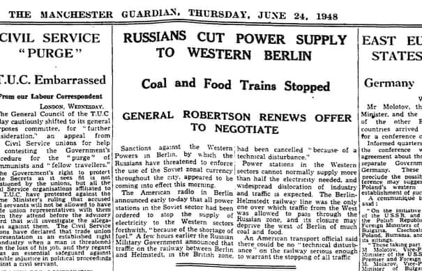 The Berlin blockade - archive, 1948 | World news | The Guardian