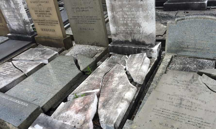 Smashed gravestones at a Jewish cemetery in Charlestown, Manchester
