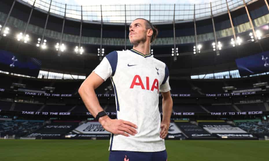 Gareth Bale during his unveiling at the Tottenham Hotspur Stadium