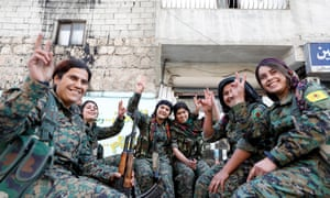 A Kurdish YPJ unit in Aleppo, Syria, in February 2018.