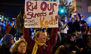 Popular backlash: protesters demonstrate against the Koch brothers, funders of climate change denial.