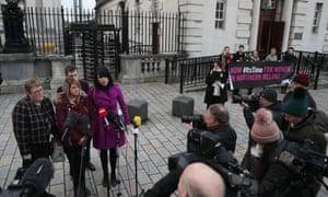 Sarah Ewart speaking to the media outside Belfast's high court in January 2019