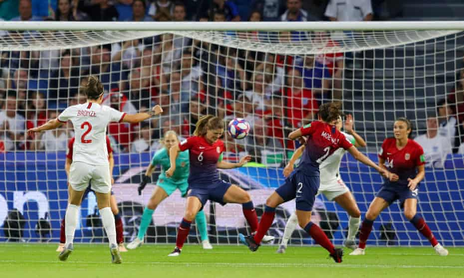Lucy Bronze fires in England's third goal from the edge of the penalty area.