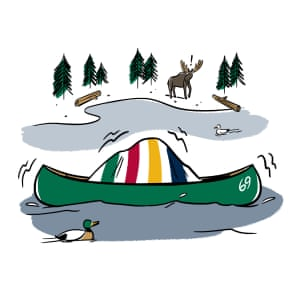 Illustration of Canadians in the wilderness