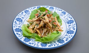 Shredded chicken with spicy sauce at Master Wei restaurant, London W1.