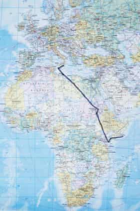 Migrants rescued by Red Cross durring crossing between Libya and Italy. Mineo, Sicily. ITALY Map of the route from Africa to Italy of Kasim 25 years old from Somalia.