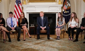 Donald Trump takes part in a listening session on gun violence with teachers and students on 21 February.