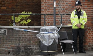 Police cordoned off a bin outside John Baker House in Salisbury on Thursday.