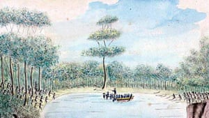 An illustration of a rowing boat in a cove, surrounded by Aboriginal warriors