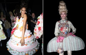 """MoschinoJeremy Scott merged the opulence and extravagance of Marie-Antoinette traveling forwarded in time to 2020 with the candy colours of Tokyo. Scott opened with a pannier waisted denim dress embroidered in gold metallic thread, next came Gigi Hadid in a biker jacket and exaggerated satin dress. Twists came in the guise of a hybridised hoodie and leather jackets which brought looks back to the present day. The finale closed with tongue-in-cheek grand tiered cake evening gowns, inspired by Marie-Antoinette's famous quote, """"let them eat cake."""""""