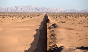 A section of the US/Mexico border fence at San Luis Rio Colorado, Sonora state in northwestern Mexico.