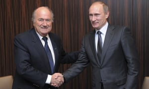 Vladimir Putin is congratulated by Sepp Blatter after Fifa announced Russia had beaten England to hosts the 2018 World Cup.