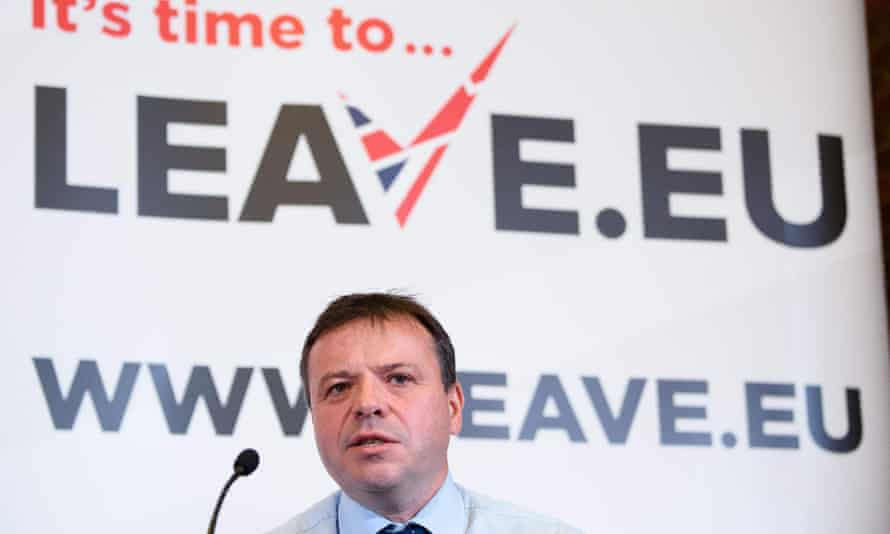 Arron Banks at a Leave.EU press briefing in 2015.