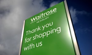 A waitrose sign saying thanks for shopping with us