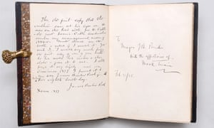 A first American edition, first printing presentation copy of The Adventures of Huckleberry Finn by Mark Twain (1885) inscribed by the author to his tour manager (£150,000).