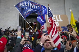 Trump supporters gather outside the Capitol in Washington on January 6, before some stormed the building.
