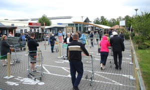 Customers wait at a garden centre. The ONS findings will inform the government's next steps on easing the lockdown.