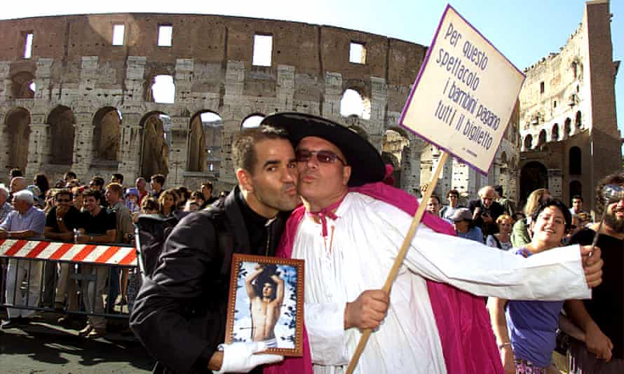 A gay pride march in Rome, Italy.