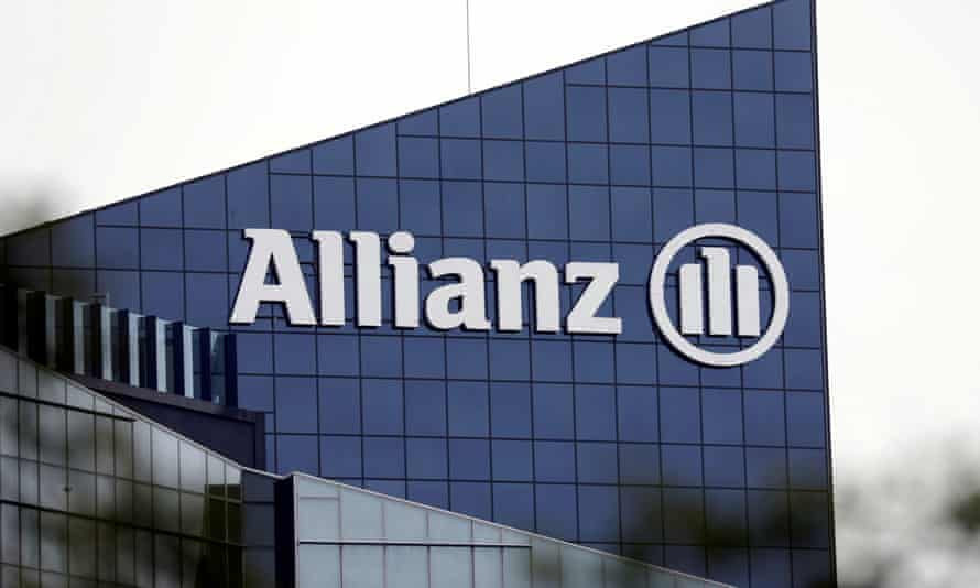 The logo of Allianz on the company building in Puteaux near Paris