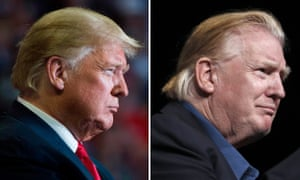 President Donald Trump with his trademark style, and sporting a more slicked back look during a visit to a church in Virginia.
