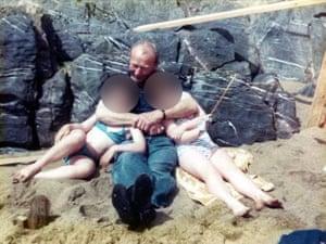 Thaddeus Kotik with two children on Caldey Island