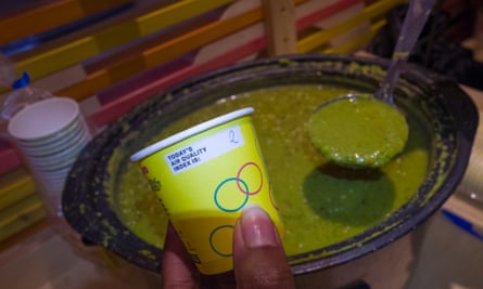 Angeletia Clarke serves up pea soup on a day with low air pollution levels.