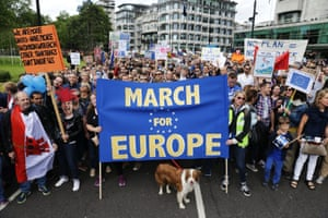Remain supporters converge on Park Lane before marching to Parliament Square to show their support for the EU