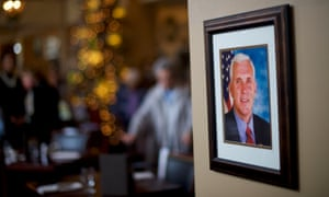 A portrait of Vice President-elect Mike Pence is displayed at the Hotel Bethlehem