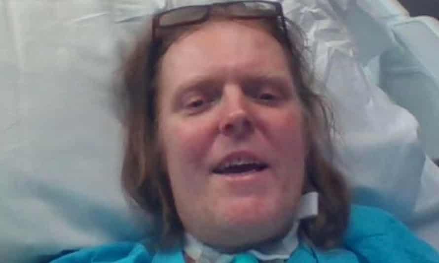 Jason Kelk in his hospital bed