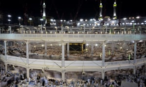 Pilgrims circle counterclockwise Islam's holiest shrine, the Kaaba, at the Grand Mosque in Mecca