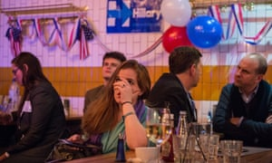 American Democratic party supporters react to the news that Donald Trump won the state of Florida at Marylebone Sports Bar and Grill