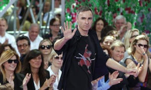Belgian fashion designer Raf Simons at the Christian Dior 2015-2016 autumn/winter haute couture show.