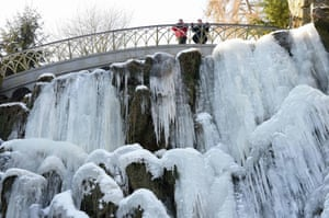 A waterfall at Bergpark Wilhelmshöhe, in Kassel, Germany, becomes a solid feature