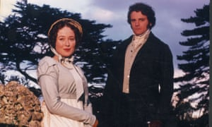 Colin Firth as Mr Darcy and Jennifer Ehle as Elizabeth Bennett in Davies's 1995 BBC adaptation of Pride and Prejudice.