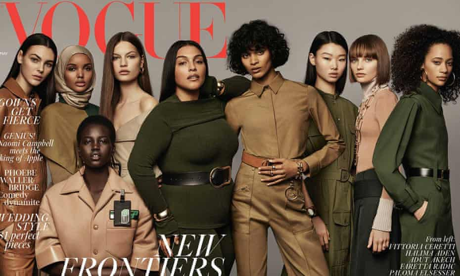 The May 2018 cover of British Vogue, featuring Halima Aden.