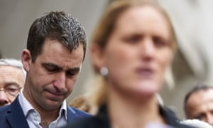 Brendan Cox and Jo Cox's sister, Kim Leadbeater, at the Old Bailey