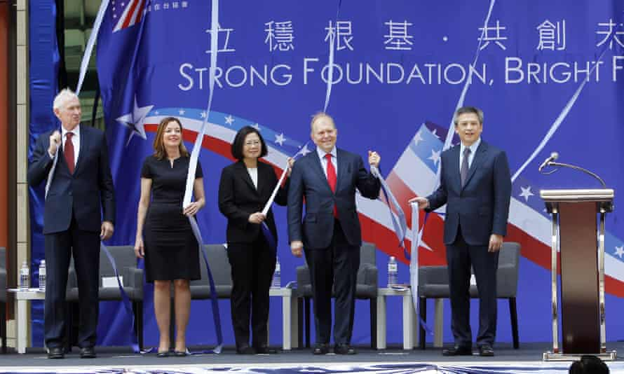 From left: chairman of the American Institute in Taiwan James Moriarty, US assistant secretary of state for education and culture affairs Marie Royce, Taiwan's president Tsai Ing-wen, principal deputy director ambassador William Moser and AIT director Kin Moy.